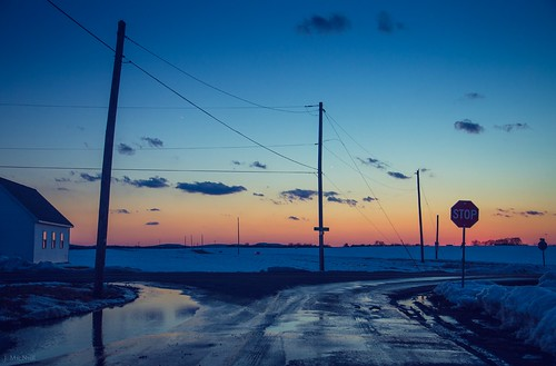 road winter sunset snow cold sign night landscape evening frozen colorful driving pennsylvania pa stop intersection roads lancastercounty telephonepoles jennifermacneill jennifermacneillphotography