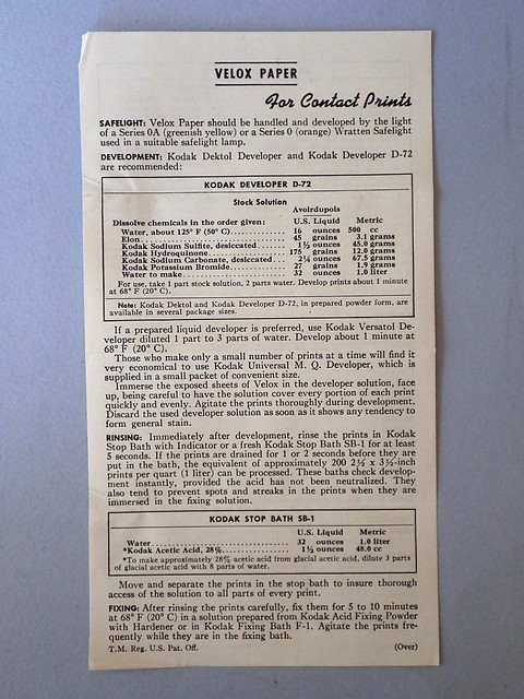 Kodak Photographic Paper Velox Instructions (Feb 1946) recto