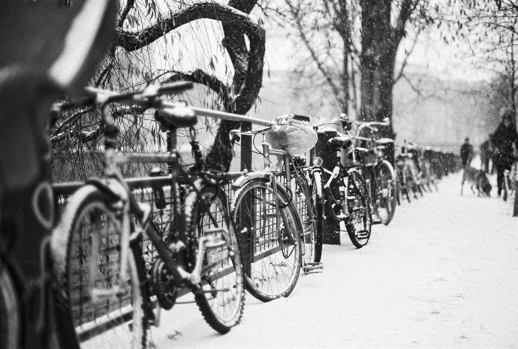 Snowy bikes. Agfa APX 100