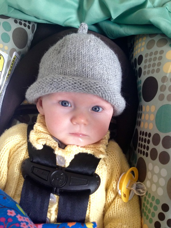 Theda in the wee hat I made before she was born.