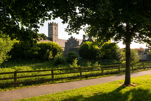 travel light shadow sun tree church nature sunshine st fence river landscape evening peace view outdoor path walk bank calm nicholas shade limerick adare maigue
