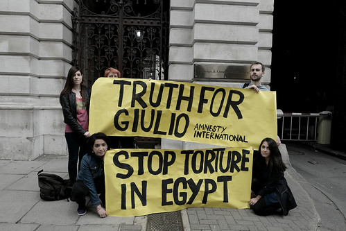 Five months after Giulio Regeni's brutal abduction, torture and murder by Egypt's security services, protesters in London gather outside the British Foreign Office to demand that the British government take action.