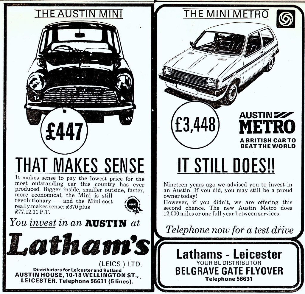 1982 Advert Mini To Metro Lathams Of Belgrave Gate Leice Flickr