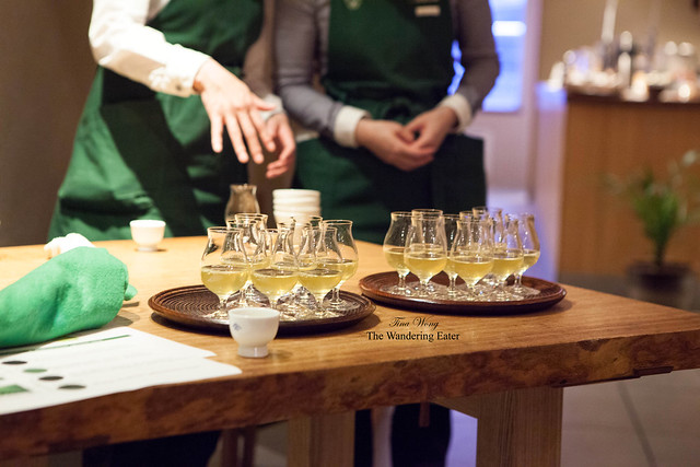 Trays full of snifter glasses full of Sencha and Gyokuro teas