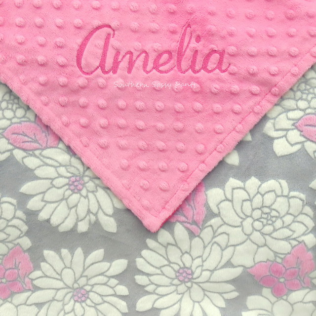 Gray and Pink Baby Girl Blanket - Floral Minky