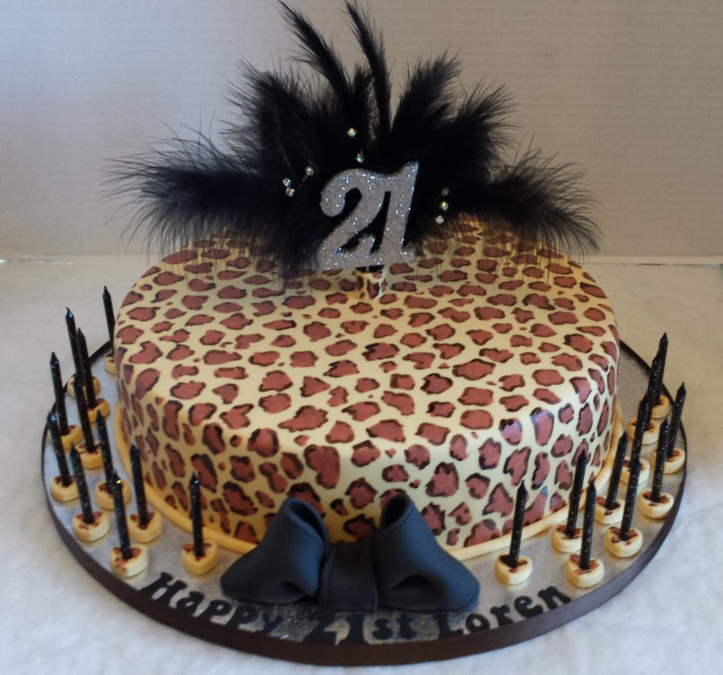 image relating to Printable Pictures of Birthday Cakes called 21st Leopard Print Birthday Cake Liz Flickr