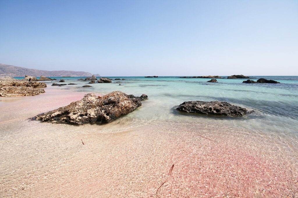 The beautiful Elafonisi pink sand beach in Crete