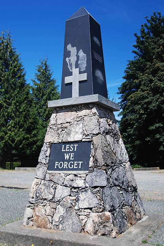 War memorial in Bowser, Vancouver Island, British Columbia, Canada.