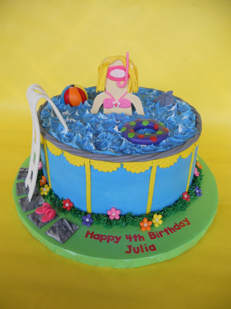 Terrific Pool Party Birthday Cake Amy Stella Flickr Funny Birthday Cards Online Inifodamsfinfo
