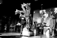 "Dr. Takeshi Yamada and his ""Five-headed Monster from the Hell"" on the stage at the Carnivorous Nights: Taxidermy Contest at Bell House in Brooklyn, New York on April 6, 2014. Photo by Laetitia Ante Delictum, =0025S25===BW"