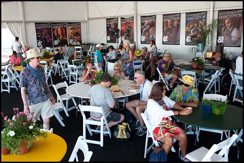 The WWOZ Hospitality Tent at Jazz Fest 2014 day 7. Photo by Ryan Hodgson-Rigsbee www.rhrphoto.com