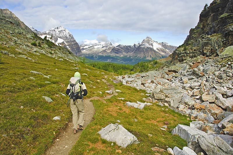 Hiking near Lake O'Hara, Yoho National Park, British Columbia, Canada.