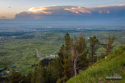 caspermountain wyoming june summer sunset evening dusk color colorful sky orange clouds distant thunderstorm cumulonimbus anvil scenic view vista tamron2470mmf28 nikond750 road slope storm stormy