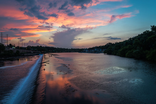 sunset summer sky philadelphia nature water clouds reflections river us waterfall nikon unitedstates pennsylvania philly fairmount artmuseum schuylkillriver d800e