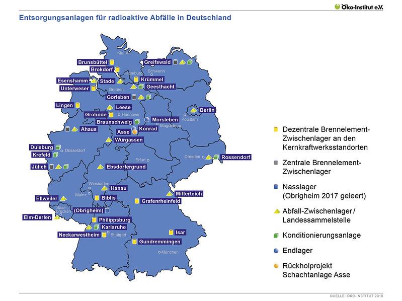 Entsorgungsanlagen in Deutschland - Übersicht aller Standorte, an denen radioaktive Abfälle gelagert werden