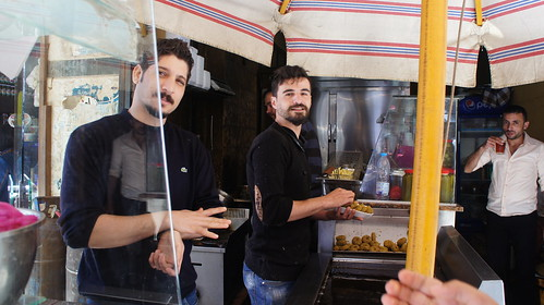 Two Syrian young men working in ful and falafel restaurant | by Kodak Agfa