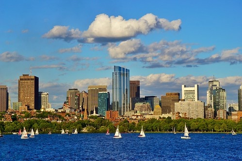 blue summer sky cloud water boston skyline buildings river boats downtown skyscrapers charlesriver sunny sailboats beaconhill