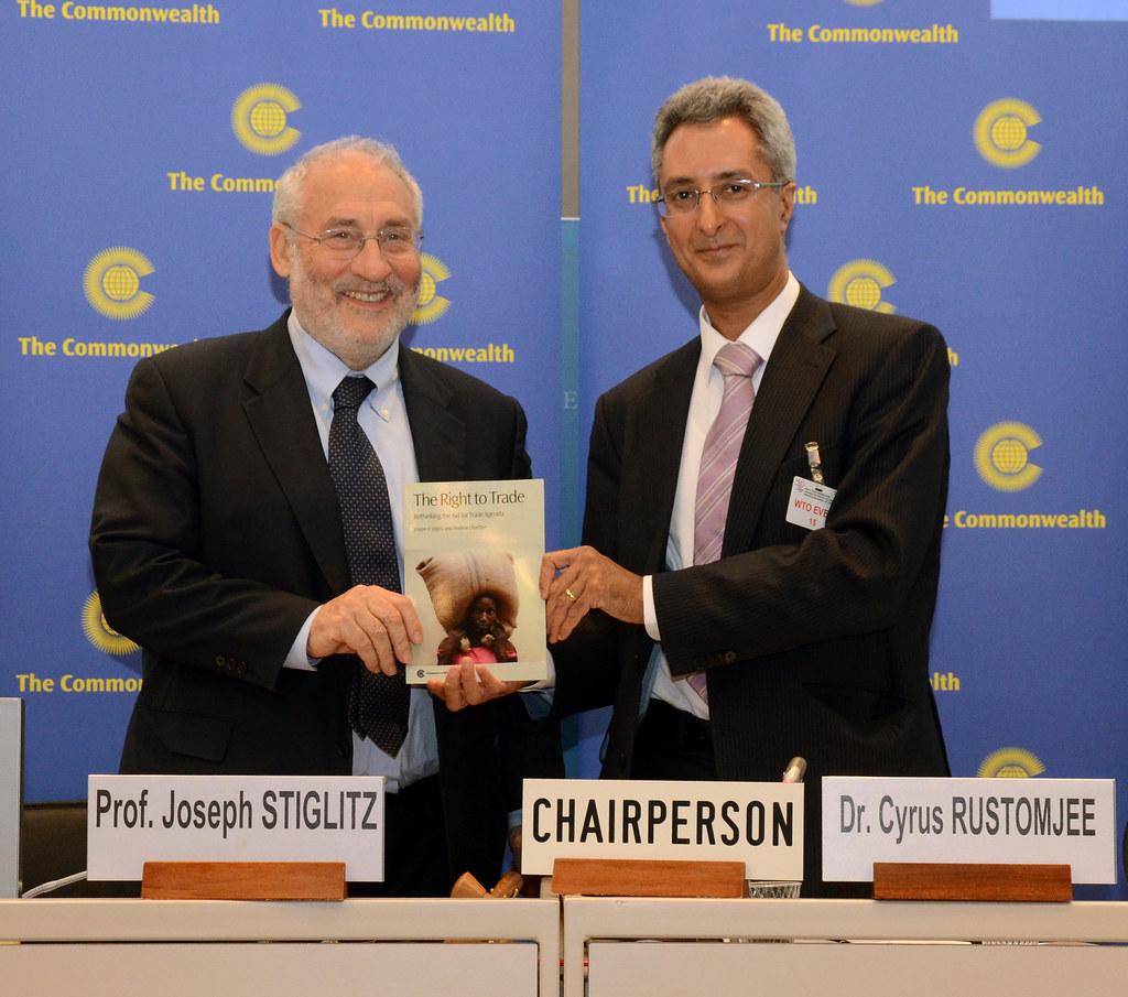 Professor Joseph Stiglitz and Commonwealth Secretariat Director of Economic Affairs, Cyrus Rustomjee (right), launching a report for the Secretariat,