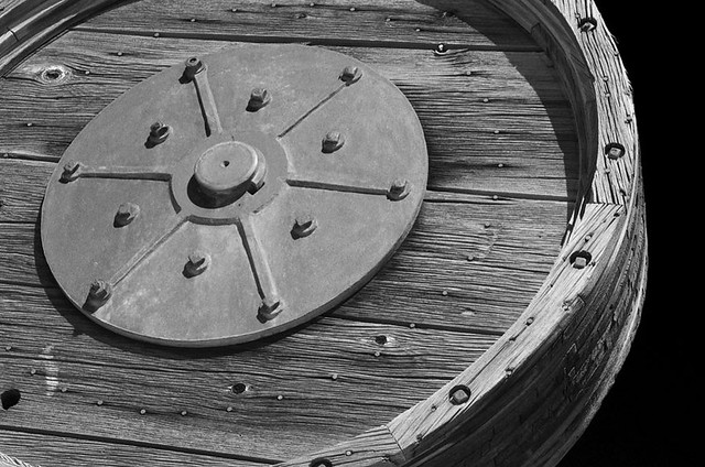 Stemp mill wheel at Tunnel ghost town, Nevada