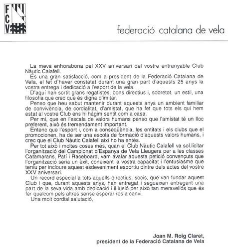 Salutació del president de la FCV, any 1992 en motiu del 25è aniversari.
