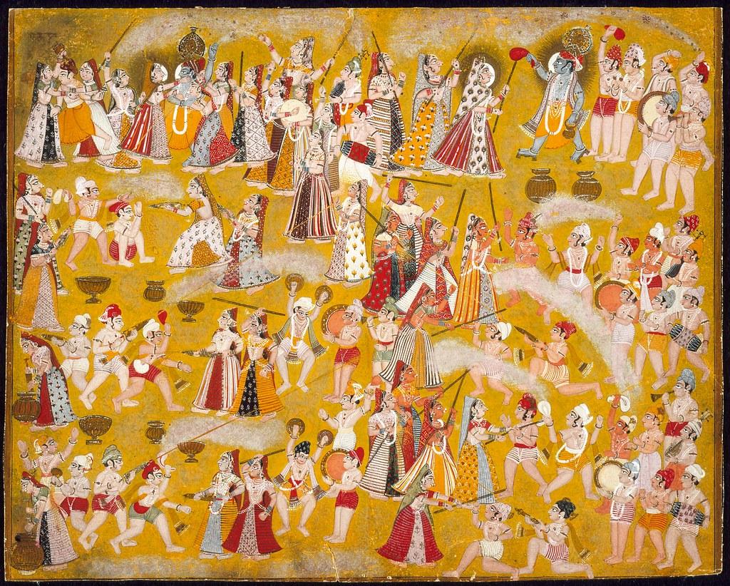 Krishna and Radha Celebrating the Holi Festival with Companions LACMA M.81.280.2