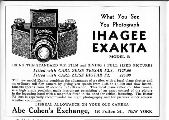 Advert for Ihagee Exakta Model B (VP model). 1935
