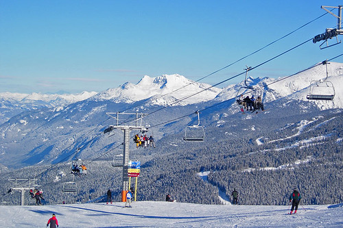 Ski Lifts at Whistler Blackcomb Ski Resort in Whistler, British Columbia, Canada.