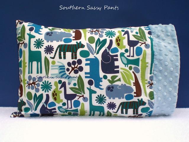 Baby Boy Pillow - 2D Zoo Blue