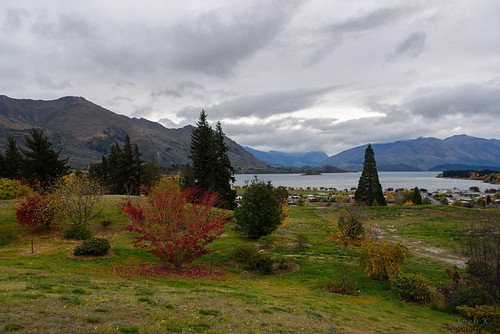 autumn trees houses newzealand sky mountains clouds autumncolours golfcourse southisland centralotago wanaka lakewanaka tripdownsouth