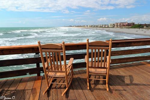 ocean strand pier meer florida rockingchair cocoabeach schaukelstuhl