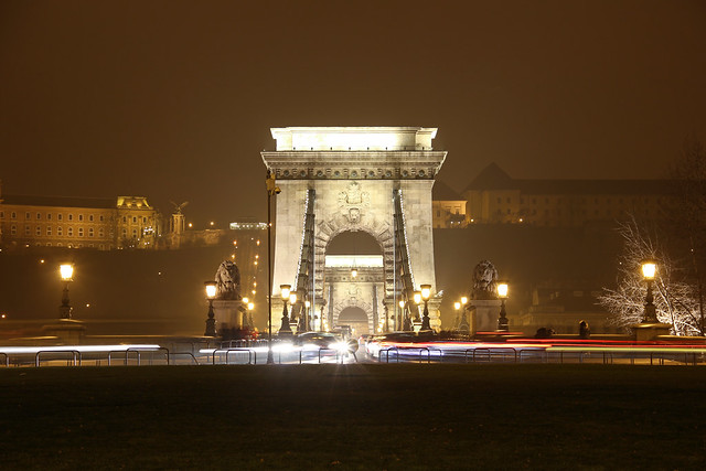 Chain bridge entrance at night viewed from the Gresham palace 2