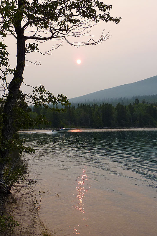 Morning Sun blocked by Wildfire Smoke, Ts'yl-os Provincial Park, Chilko Lake, Chilcotin, British Columbia