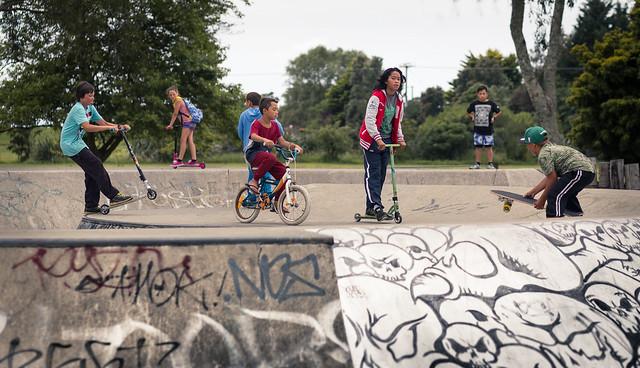 Kids at the skate park in Opotiki
