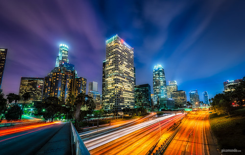 california ca longexposure light night la losangeles nikon downtown cityscape skyscrapers trails bluehour dtla hdr d800 110fwy discoverla pixamundo