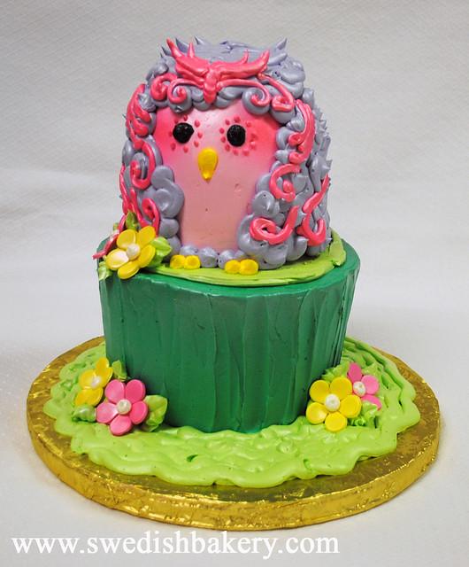 Owl on a Log Sculpted Cake