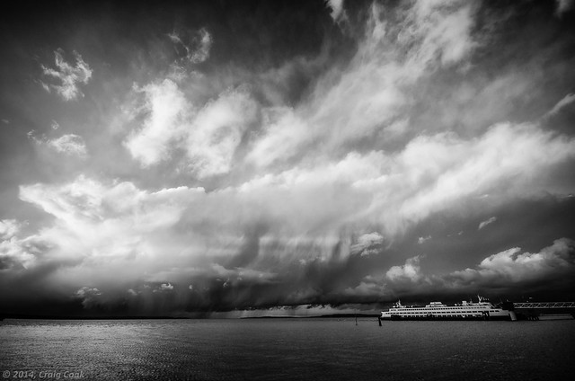 Dramatic clouds over Whidbey Island and North Puget Sound