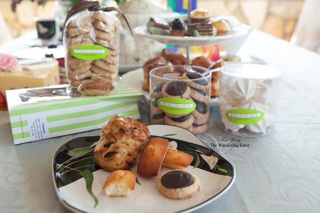 Financier's cookies: Chocolate Diamant, Mini Madelines, Mini Financiers, Pecan Bourbon cookies, meringues