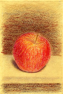 red apple. A5. Oil pastel, colored pencils, acrylic   by stacy2005ua