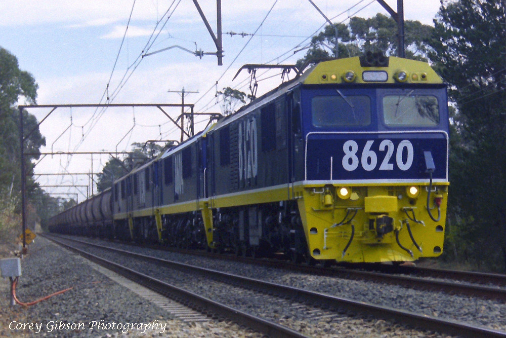 NSW Electric locomotive 8620 hauls a coal train through the Blue Mountains by Corey Gibson