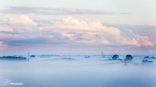 morning fog sunrise landscape groningen