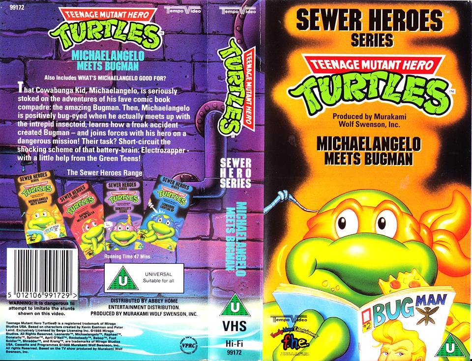 """TEMPO VIDEO ::  """"TEENAGE MUTANT HERO TURTLES"""" 'SEWER HEROES' SERIES - """"MICHAELANGELO MEETS BUGMAN"""" ..U.K. VHS sleeve (( 1994 ))  [[ Courtesy of HERO ]] by tOkKa"""