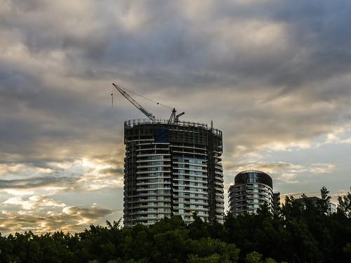 sunset sky buildings sydney nsw newsouthwales hotels olympicpark bicentennialpark nikond7000