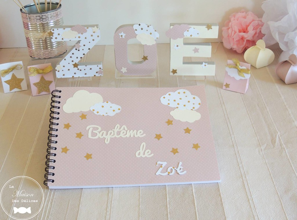 Livre D Or Bapteme Baby Shower Lettres Prenom Decoree Pomp