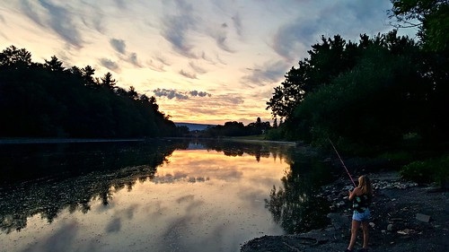sunset water clouds river fishing dusk