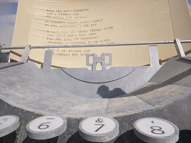 Paper, typewriter, Burning Man 2015, Black Rock City, Pershing County, Nevada, USA