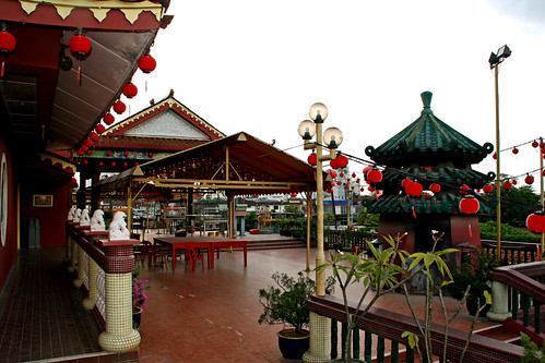 008 Looking out toward the front from the building,  Lanterns, Lim Fah San Monastery, Kuching, Sarawak | by davidvictor513