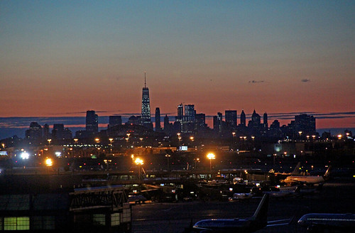 newyorkcity red sunrise dawn skyscrapers airports newarklibertyinternationalairport sunrisephotography predawnphotography oneworldtradecenter