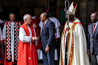 Justin Welby shakes hands with President Kenyatta | by anglican_archives