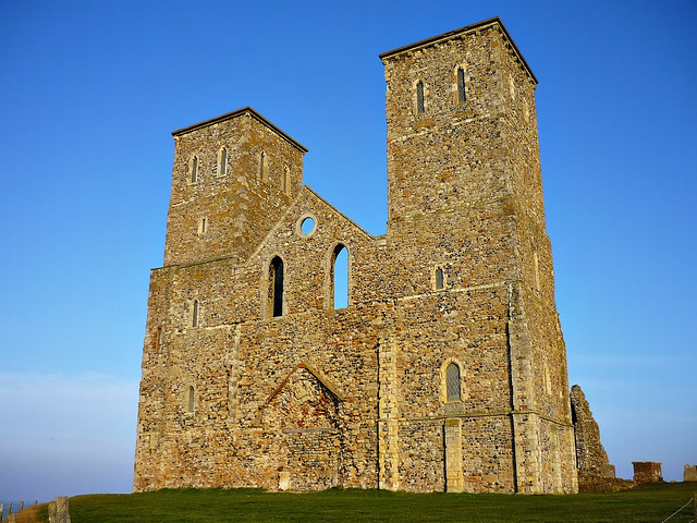 The ruins of St Mary's medieval church in Reculver, Kent