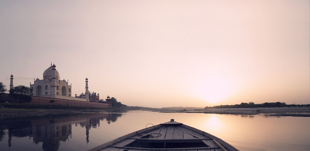 Yamuna river View of Taj at sunset